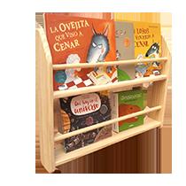 Estantería libros pared madera montessori pikler juguetes astronauta
